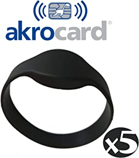 paquete de 5 YARONGTECH 13.56mhz pulsera HF 1K resistente al agua RFID ISO14443A ajustable de nailon