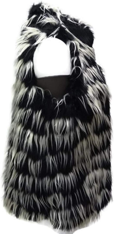 kensie Performance Women's Long Fur Vest, Black Combo, Small