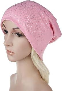 Qingfan Women Velvet Rhinestone Cancer Chemo Pre Tied Knitted Hat Beanie Scarf Turban Headband Elegant Wrap Cap