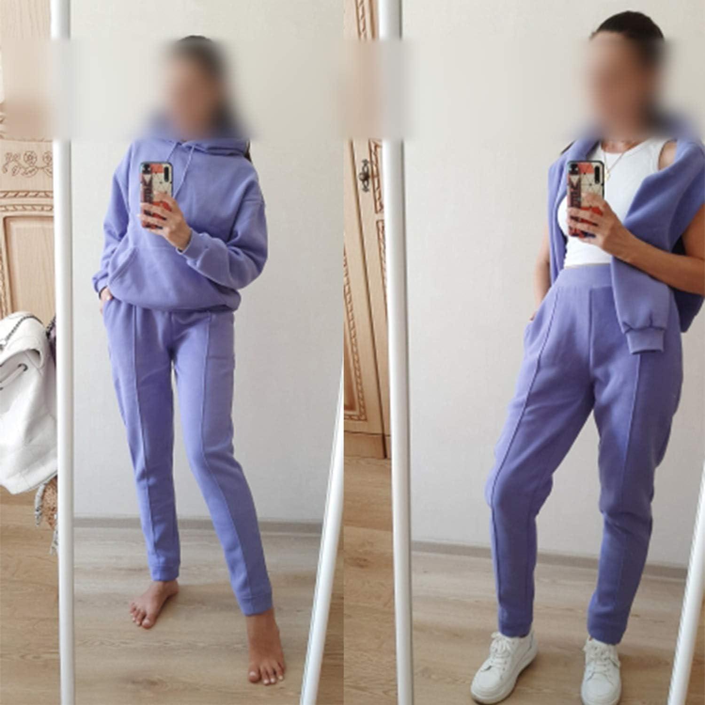 Sweatshirts Femmes Molleton Hoodies 2020 Hiver Solide Coton à Capuchon Décontracté Lâche Pull Veste Pantalon Violet 2.