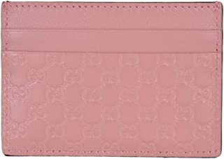 Microguccissima Signature Leather Card Case Wallet, Pink
