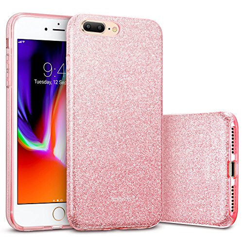 ESR Funda para iPhone 8 Plus/ 7 Plus Blindada [Protección a Bordes y Cámara][Compatible con Carga Inalámbrica] Suave TPU Exterior + Plástico Duro Interior para Apple iPhone 7 Plus/8 Plus-Oro Rosa