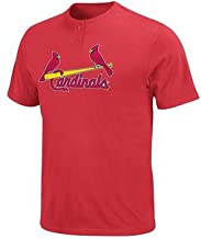 Majestic Athletic MLB St.Louis Cardinals Men's Two Button Jersey T-Shirt 50/50