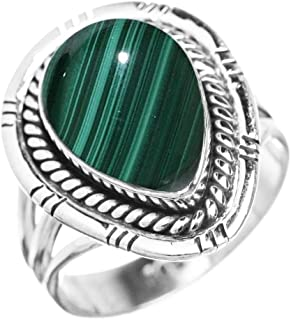 Genuine Malachite 10x14mm Pear & .925 Silver Plated Handmade Solitaire Rings