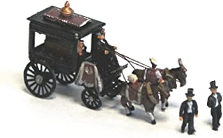 Horse Drawn Hearse with Figures and coffin. N Scale 1:148 UNPAINTED Model Kit.