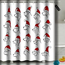 Randell Shower Curtain Xmas Happy New Year 2018 Outlined Silhouettes of Different Dogs Heads Profiles Faces Portraits Waterproof Polyester Fabric with 12 Hooks 72