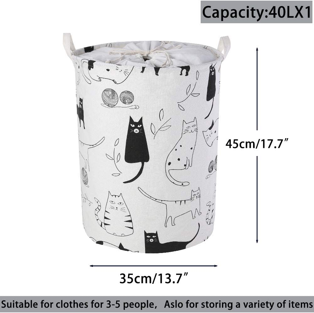 Collapsible Pop-Up Laundry Hampers Bathrooms Toys and Dirty Waterproof Round Cotton Linen with Drawstring Cover for Bedroom LessMo 17.7 Laundry Basket Storage Sorter