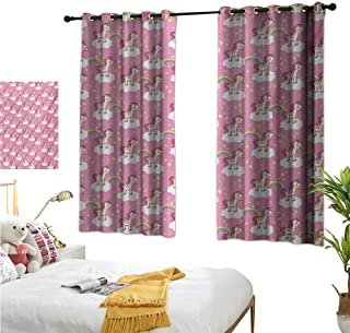 """RuppertTextile Customized Curtains Cute Unicorns Standing on Clouds with Rainbows and Stars on a Pink Skyline 55"""" Wx63 L, Set of Two Panels"""