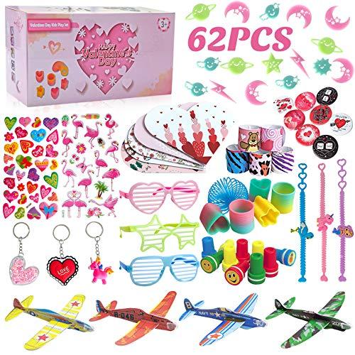 balnore 62 Stück Mitgebsel Set für Kinder, Kinder Party Mitgebsel Spielzeug, Kindergeburtstag Gastgeschenke, Pinata Füllung, Gleitflugzeuge, Schnapparmbänder, Stempel