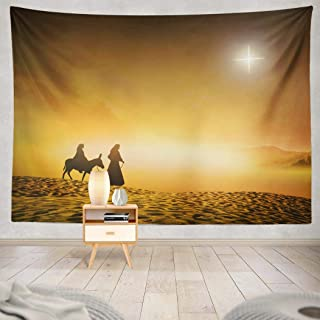 Pakaku Jesus Tapestry, Decorative Tapestry Jesus Silhouette Pregnant Mary and with Wall Hanging Tapestry 50 L x 60 W for Bedroom Living Kids Girls Boys Room, Jesus Silhouette