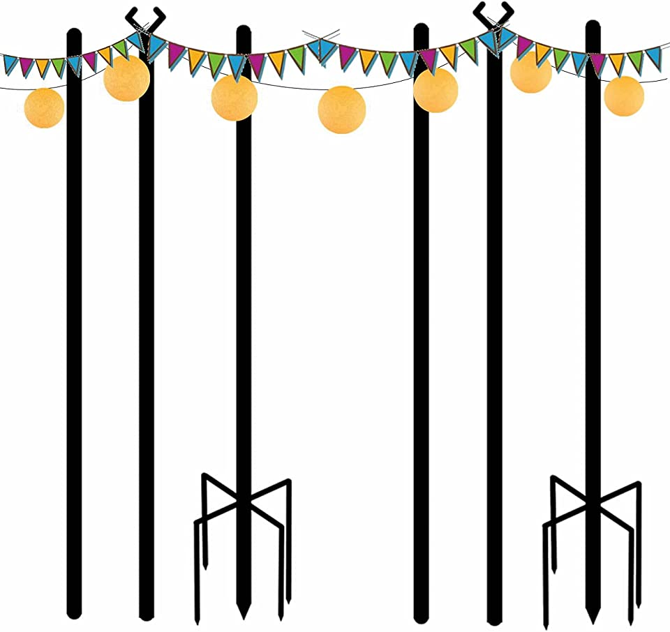 String Light Poles Outdoor 9ft 5 Prong Fork Holiday Steel Light Pole Patio Lights Christmas Light Pole Garden Backyard Party Cafe Patio Wedding Party Terrace Decoration (Steel Pole - 2 Pack)