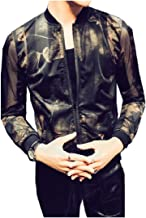 Zimaes-Men Floral Printing Thin Dance Nightclub Zipper Sunscreen Jacket