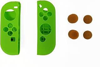 "Indigo 7 - ""Legendary Hero"" Themed Nintendo Switch Joy-Con Deluxe Controller Customization Protector Bundle Kit, Green/Brown"