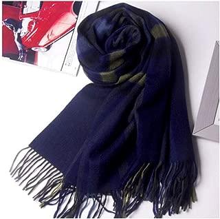 MUZIWENJU Wool Ladies Plaid Scarf Shawl Dual-use, Autumn and Winter Warm Fashion Wild Scarf Women (Two Colors Optional) (Color : Blue)