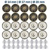 Reemplazo de Botón del Pantalón para Botones de 15 – 17 mm, Paquete de 20 Botones de Perno de Latón para Jeans Ø 17 mm de Diámetro, Reparación de la Chaqueta de Mezclilla Botón de Clip, Botones Metal