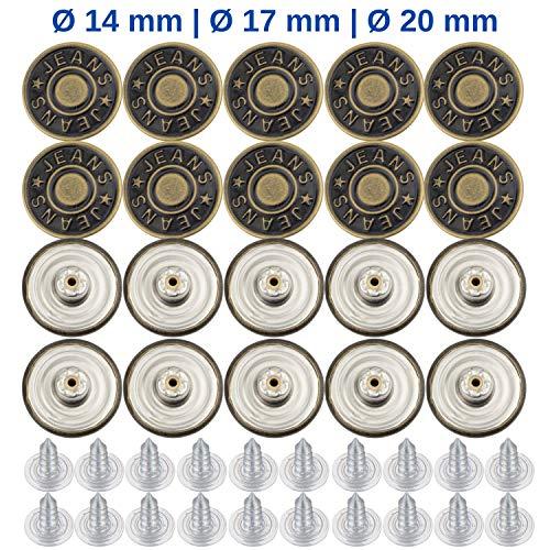 Hosen Ersatz Knöpfe, ersetzen 15-17 mm Knöpfe, 20 Pack, 17 mm Durchmesser, Knöpfe für Jeans mit Nieten, Jeans Knopf zum Einschlagen, Metall Hosenknopf, zur Reparatur von Jeans, Hose, DIY
