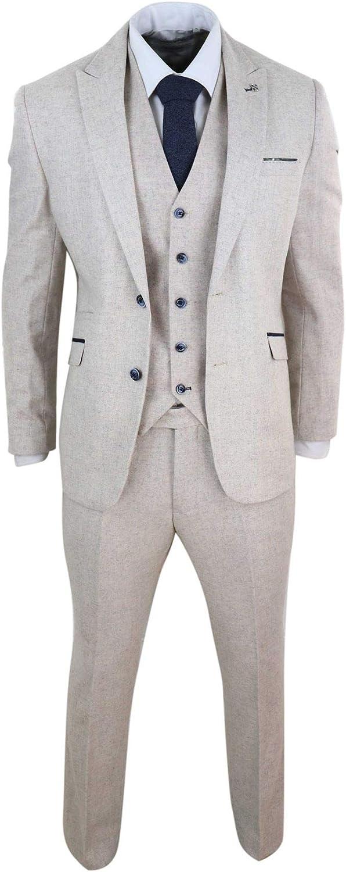 Mens Wool Tweed 3 Piece Vintage Suit Cream Retro Classic
