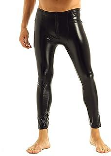 TiaoBug Men Wetlook Zipper Tight Pants Legging Trouser Clubwear Dance Costume