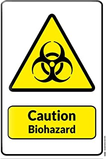 onepicebest 8x12 Tin Sign Warning Sign Caution Biohazard Symbol in Black and Yellow Triangle