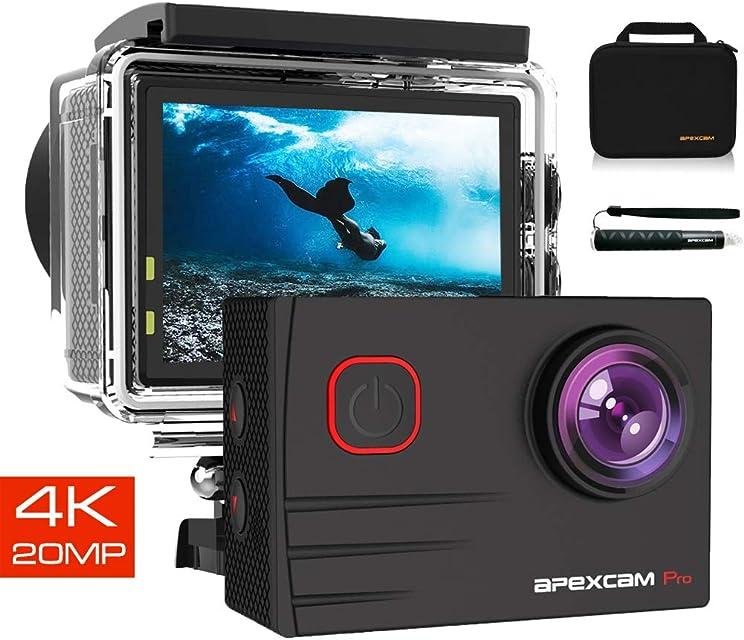 Apexcam Pro Cámara Deportiva 4K 20MP EIS WiFi Action Camera Cámara subacuática Impermeable 40M Micrófono Externo 2.0LCD 170° Gran Angular 2.4G Remoto 2 baterías de 1200mAh y Otras