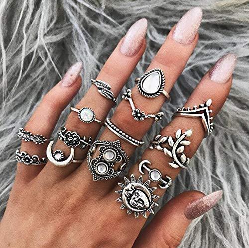 Deniferymakeup 14 stks Trendy Bloem Blad Goud Maan Knuckle Ring Set Gift Voor Haar Vintage Goud Ring Set voor Vrouwen en Meisjes Tieners