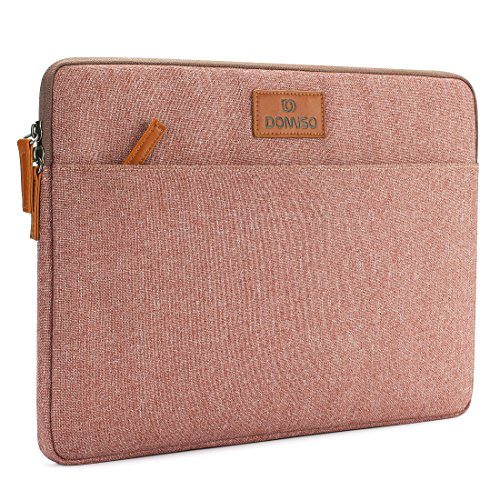 "DOMISO 13-13.3 Zoll Laptophülle Hülle Tasche Sleeve Case Etui Notebook Schutzhülle Canvas-Gewebe für 13"" MacBook Air / 13.5\"" Microsoft Surface Book / 13.3\"" Dell XPS 13 Inspiron 13, Pink"
