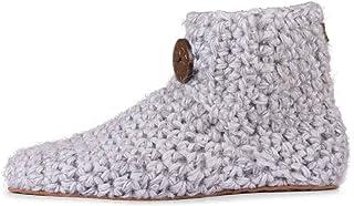 شباشب مصنوعة يدويًا من الصوف والخيزران للنساء من OHMY FIT حذاء منزلي داخلي ناعم رمادي مقاس 10. 5 - 11. 5