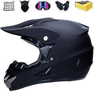 XIAOL Motocross Helm mit Brille, Unisex Fullface Cross Helm Downhill Quad Enduro ATV Motorrad Schutzhelm für Herren Damen, Road Motorradhelm Crosshelm Set Handschuhe Maske L