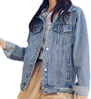 Saukiee Oversized Denim Jacket Distressed Boyfriend Jean Coat Jeans Trucker Jacket for Women Girls