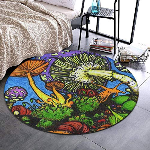 NiYoung Psychedelic Mushroom Fairy Tale Green Plants Round Area Rug for Bedroom, Living Room, Home, Office/Memory Foam Ultra-Soft Doormat Floor Mat Entrance Rug Nursery Rugs (24 inch Diameter)