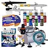PointZero Cake Airbrush Decorating Kit - 3 Airbrushes, Compressor, and 12 Chefmaster Colors