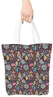 Washable tote,Flower Doodle Style Foliage,Canvas Grocery Shopping Bags,16.5