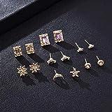 Arete 7PCS / Sets Mujeres Star Moon Geometric Stud Earrings Set Rhinestone Earrings Gift