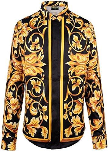 PIZOFF Herren Langärmliges Hemd mit Baroque-Motiven Muster Y1706-10-XXL