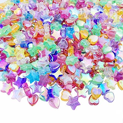 Jmassyang 600 PCS Acrylic Beads Heart Star Shape Charming Beads Clear Acrylic AB...