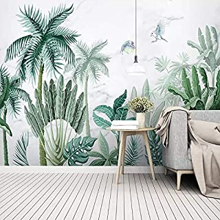 LUDEOU Custom Photo Wallpaper 3D Hand-Painted Tropical Rain Forest Plants Landscape Background Wall Paper Living Room Bedr...