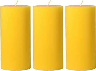 CandleNScent 3x6 Yellow Pillar Candles Hand Poured Unscented (Pack of 3)