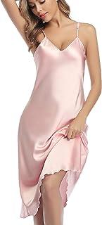 Camisones de Mujer Verano Corto,Camison de satén de sin Mangas,Sexy Tirantes Pijama de Seda de Correa de Hombro Ajustable,para Novia