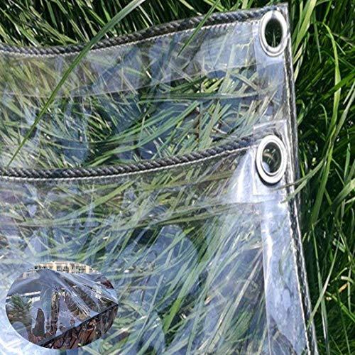 Transparente Lona Impermeable 0.3mm,Película de Cortina Suave de Plástico for Ventana/Puerta/Plantas,Cubierta de Protección del Suelo Resistente al Polvo Prueba de Lluvia con Ojales(2.4x5m/7.9x16.4ft)