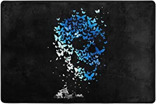 Traveler Alfombrilla de ba/ño Alfombra de Piso Absorbente de Agua y Antideslizante Alfombra de ba/ño Calavera de Esqueleto Divertida de Halloween Negro