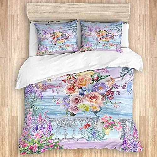 Juego de funda nórdica de 3 piezas, elegante paisaje de jardín, flores frescas, hermoso lago, juegos de fundas de edredón de microfibra de lujo para dormitorio, colcha con cremallera con 2 fundas de a