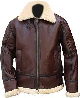 KAAZEE Aviator B3 RAF Brown Bomber WWII Real Shearling Sheepskin Leather Flight Jacket
