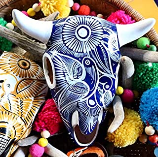 Mexican Talavera Cow Skull, talavera pottery, faux Hanging Cow Skull, Faux Skull wall art, Curiosities, Skull, Mexican Art pottery