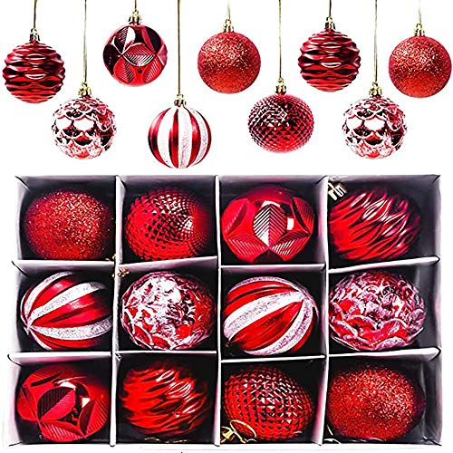 Msoah 12er Set Edle Glas Weihnachtskugeln Ø 6cm Weihnachtsbaum Kugeln Christbaumkugeln Weihnachts Deko (Rot Grün)