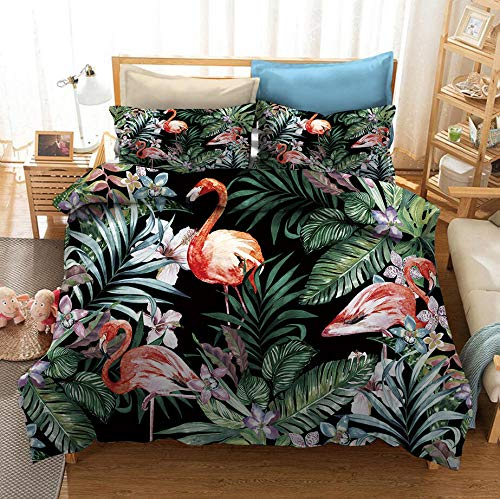 MOUPSDT 3D Printed Duvet Cover Green plant pink flamingo Double size Bedding Set Super Soft Microfiber 3 pcs 1 Duvet Cover 78.7 inch x 78.7 inch with 2 Pillow covers 50x75cm
