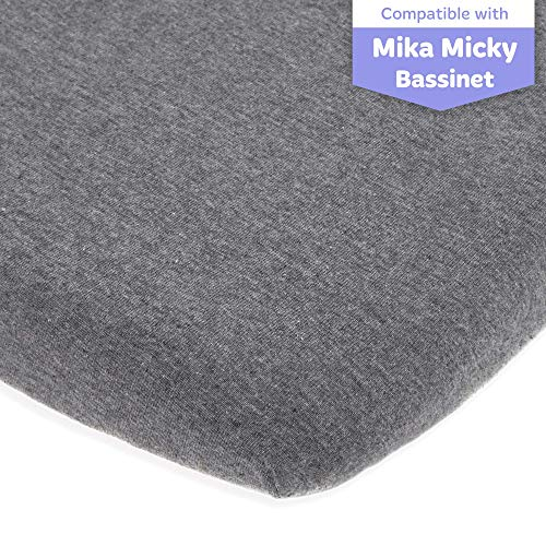 Bassinet Fitted Sheet Compatible with Mika Micky Bedside Sleeper –Snuggly Soft Jersey Cotton – Fits Perfectly on 19 x 32 Inch Bed Side Sleeper Mattress Pad – Dark Grey