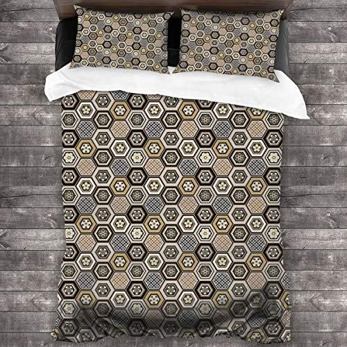 ZUL Duvet Cover Set,Victorian Damask Baroque Hexagon Rococo Interlocking Abstract Design,Decorative 3 Piece Bedding Set with 2 Pillow Shams,200 * 200cm*1