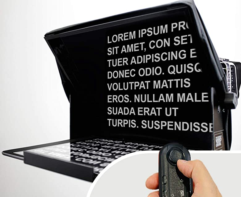 TeleprompterPAD iLight Pro 13 Gran Pantalla - 100x100 Aluminio – Robusto. Compatible con iPad Pro/Android/Windows. Multi Cámara. Cristal HD Beamsplitter. Alta calidad. Made in UE