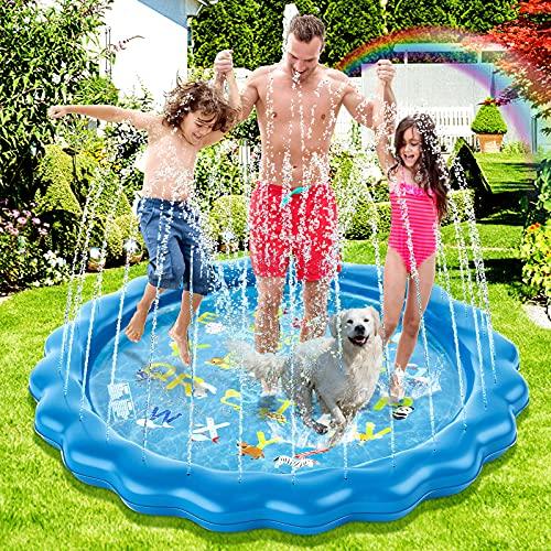 Guffo Splash Pad, Sprinkler Matte, 172cm Wasserspielmatte für Kinder, Outdoor Sommer Garten Wassermatte, Splash Pool Hund Wasserspielzeug