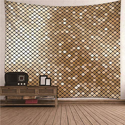 Daesar Tapices Decorativos,Patrón de Cuadrado Tapiz Pared Tapiz de Pared Tela Poliéster Oro 210x140CM(Ancho x Altura)